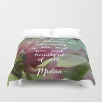 mulan Duvet Covers featuring The flower that blooms in adversity - Mulan quote by IndigoEleven