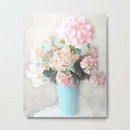 Shabby Chic Hydrangea Flowers Pink White Aqua Blue Metal Print