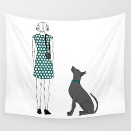 Photographer girl and dog Wall Tapestry