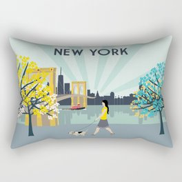 New York City Brooklyn Bridge Art Print Rectangular Pillow