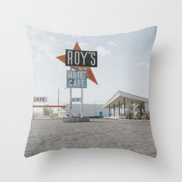 Roys Motel and Cafe   Route 66 Throw Pillow