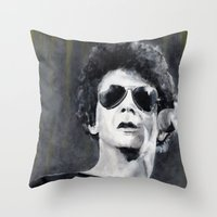 lou reed Throw Pillows featuring Lou Reed by Vikki Sin