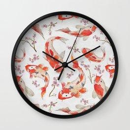 Koi carp - fish textile pattern, Wall Clock