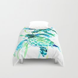 Sea Turtles, Turquoise blue Design Duvet Cover