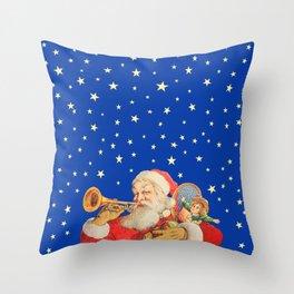 Santa Claus & Christmas Stars on the Night Sky Throw Pillow