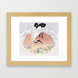 Crane and Wave Framed Art Print