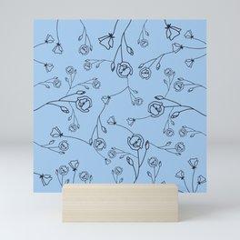 Black Hand Drawn Flowers on Corn Silk Blue Background Mini Art Print