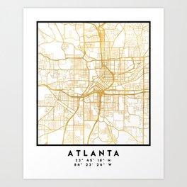 ATLANTA GEORGIA CITY STREET MAP ART Art Print