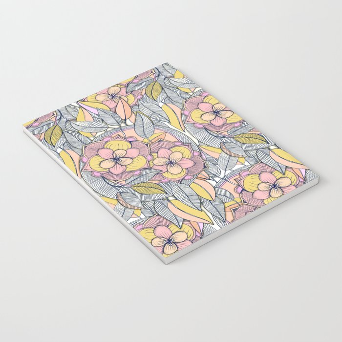 Pink and Peach Linework Floral Pattern Notebook
