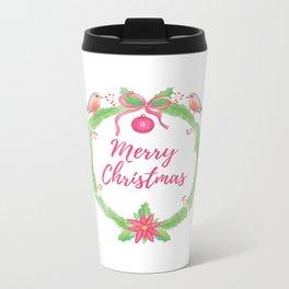 "Watercolor Holly Wreath ""Merry Christmas"" Metal Travel Mug"