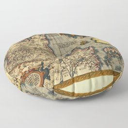Northern Asia Map by A. Ortelius (1603) Floor Pillow