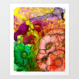 Modern Flowers and Shapes - Mixed Media Art Print
