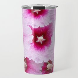 FUCHSIA-PINK HOLLYHOCK  FLOWER PATTERNS Travel Mug