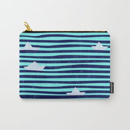 Origami boat on the blue sea Carry-All Pouch