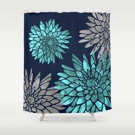 Floral Chrysanthemum Modern Navy Aqua Shower Curtain