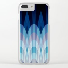 Sea blue and soft pink waves Clear iPhone Case