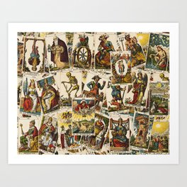 Tarot cards pattern Art Print