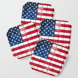 Distressed American Flag On Wood Planks - Horizontal Coaster