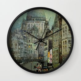 London's St Pauls and Ludgate Hill - Oil Painting, London, England Townscape by Godwin Bennett Wall Clock