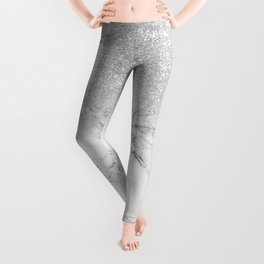 Modern faux grey silver glitter ombre white marble Leggings