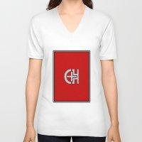 switzerland V-neck T-shirts featuring Glassy Switzerland by matthieugissler