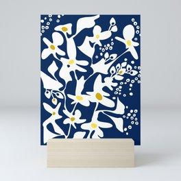 Blue jungle: Organic shapes and flowers Mini Art Print