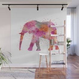 Artsy watercolor Elephant bright orange pink colors Wall Mural