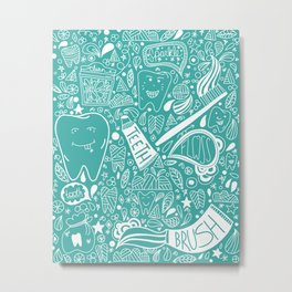 Happy Doodle Teeth Metal Print