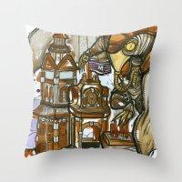 bioshock Throw Pillows featuring Bioshock Tea by Dara Gold