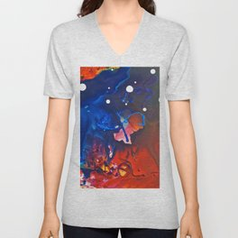 Humo, Vibrant wet on wet abstract, NYC artist Unisex V-Neck