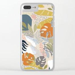 Tropical Foliage Pattern 1 - Retro Boho Clear iPhone Case