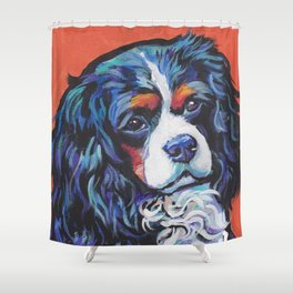 Fun Cavalier King Charles Spaniel Dog bright colorful Pop Art by LEA Shower Curtain