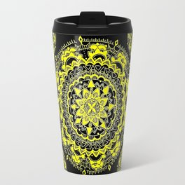 Black and Gold Regal Mandala Textile Travel Mug