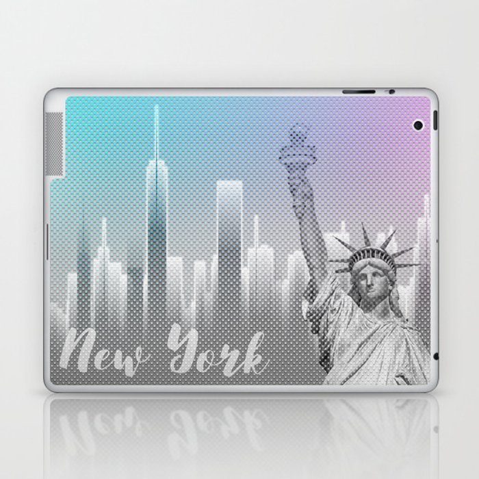 Graphic Art NEW YORK Mix No. 4 | funky cyan and pink Laptop & iPad Skin