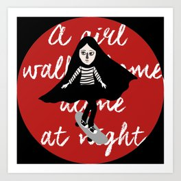 A girl walks home alone at night  Art Print