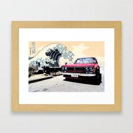 """The Great Wave"" 1972 Nissan Skyline Hakosuka on PCH in California Framed Art Print"