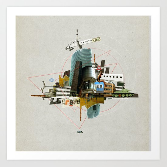 Collage City Mix 3 Art Print
