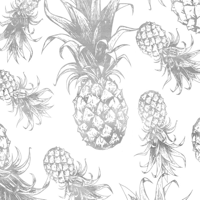 grayscale pineapple pattern, vintage tropical desing Duvet Cover