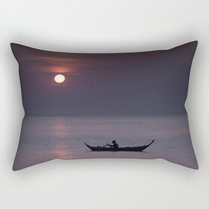 Rowing into the sunset Rectangular Pillow