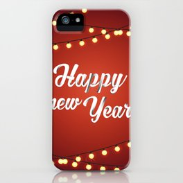 Happy holiday, Christmas sign with snow flake and christmas decoration on the red background iPhone Case