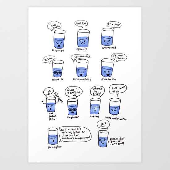 half a glass of water Art Print