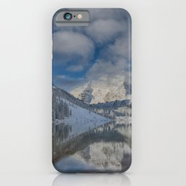 Maroon Bells Reflection In The Maroon Lake With Fresh Snow Aspen Colorado Usa for #society6 iPhone Case