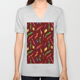 Ink and watercolor hot chillies pattern on red backround Unisex V-Neck