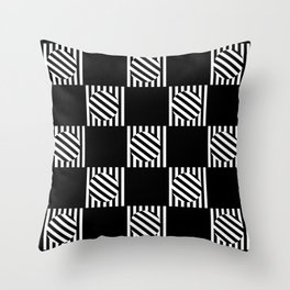Chequered Turning Point - Black & White Throw Pillow