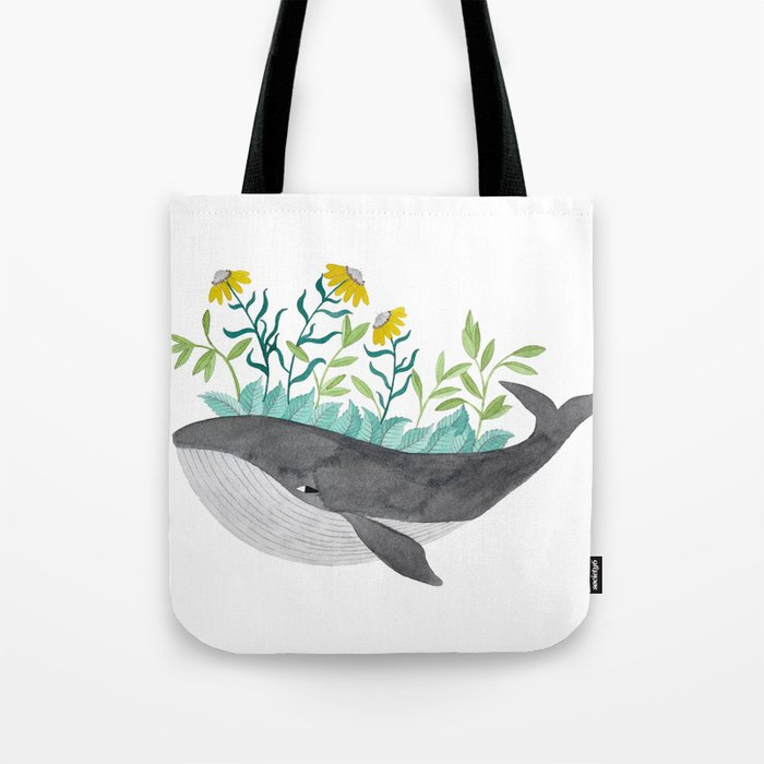 whale with mustard flowers watercolor Tote Bag