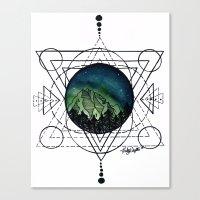 northern lights Canvas Prints featuring Northern Lights by HaleySayersArt