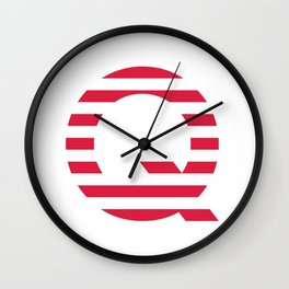 Qanon American Red Patriotic Stripes USA Great Awakening Q Wall Clock