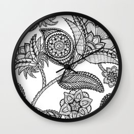 Black floral doodle bliss Wall Clock