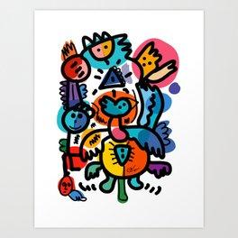 Doodle Graffiti Art Cool and Joyful Creatures by Emmanuel Signorino Art Print