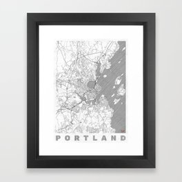 Portland Maine Map Line Framed Art Print